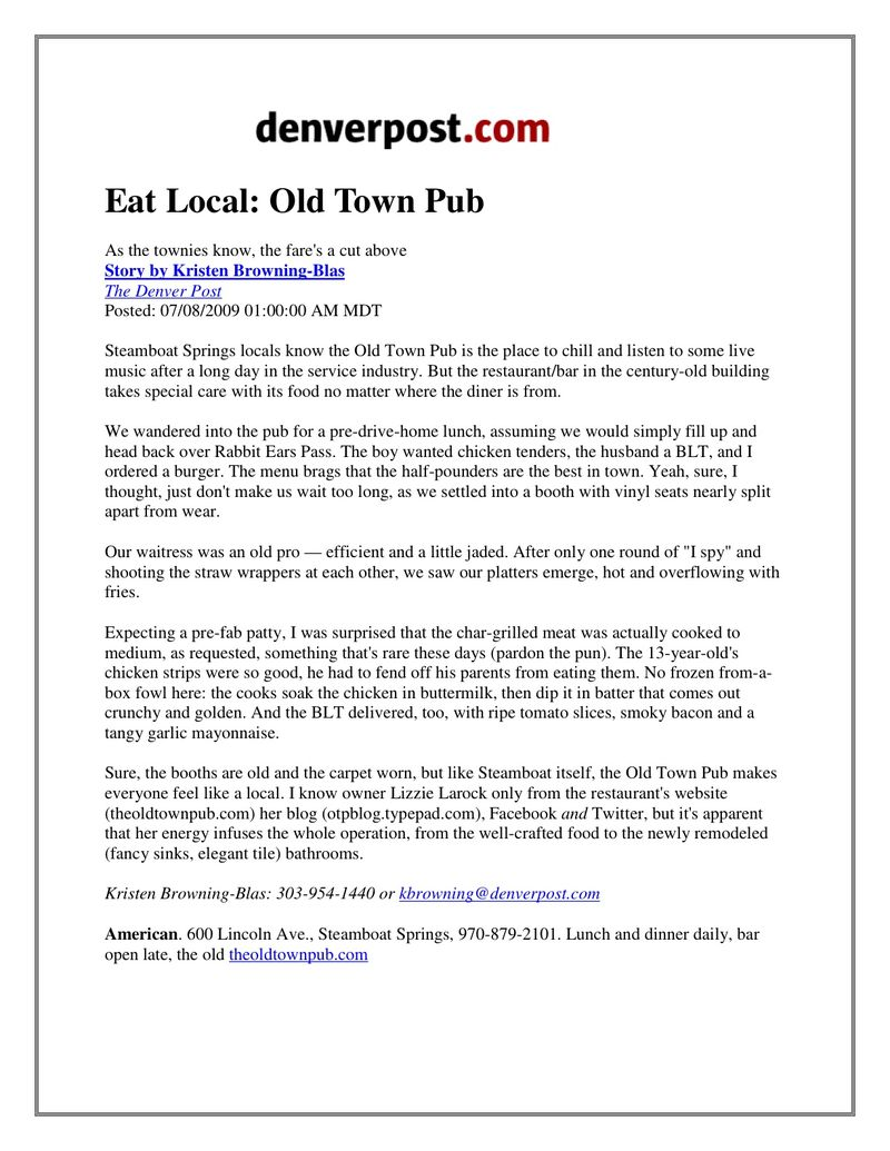 Old Town Pub -Eat Local Article